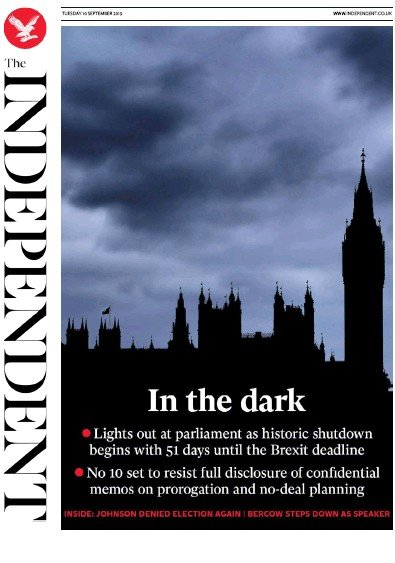 The Independent Newspaper Front Page (UK) for 10 September 2019
