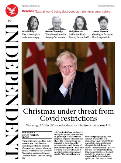 The Independent Newspaper Front Page (UK) for 10 September 2020