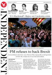 The Independent (UK) Newspaper Front Page for 11 October 2017