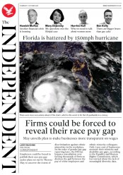 The Independent (UK) Newspaper Front Page for 11 October 2018