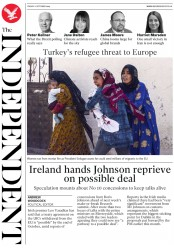 The Independent (UK) Newspaper Front Page for 11 October 2019