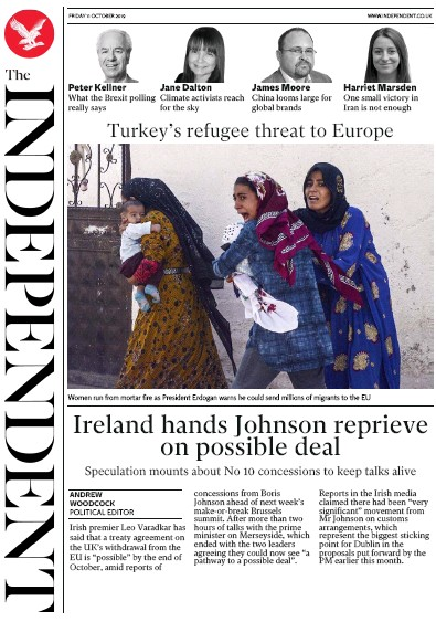 The Independent Newspaper Front Page (UK) for 11 October 2019