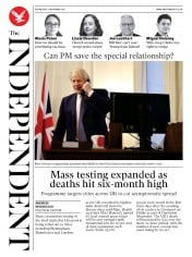 The Independent front page for 11 November 2020