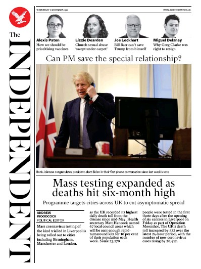 The Independent Newspaper Front Page (UK) for 11 November 2020