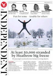 The Independent (UK) Newspaper Front Page for 11 December 2017