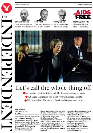 The Independent Newspaper Front Page (UK) for 11 December 2018