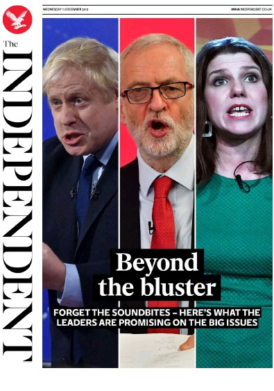 The Independent Newspaper Front Page (UK) for 11 December 2019