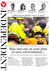 The Independent (UK) Newspaper Front Page for 11 January 2018