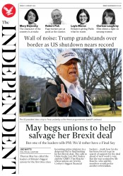 The Independent (UK) Newspaper Front Page for 11 January 2019