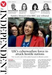 The Independent (UK) Newspaper Front Page for 11 January 2020