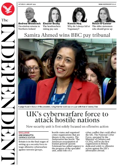 The Independent Newspaper Front Page (UK) for 11 January 2020