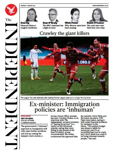 The Independent Newspaper Front Page (UK) for 11 January 2021