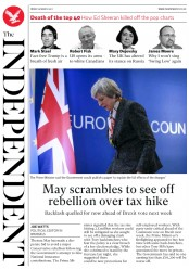 The Independent (UK) Newspaper Front Page for 11 March 2017