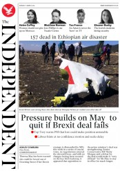 The Independent (UK) Newspaper Front Page for 11 March 2019