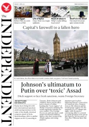 The Independent (UK) Newspaper Front Page for 11 April 2017
