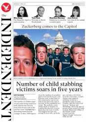 The Independent (UK) Newspaper Front Page for 11 April 2018