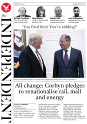 The Independent (UK) Newspaper Front Page for 11 May 2017
