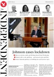 The Independent (UK) Newspaper Front Page for 11 May 2020