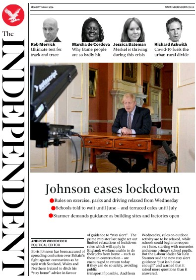 The Independent Newspaper Front Page (UK) for 11 May 2020