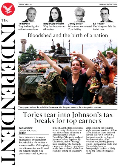 The Independent Newspaper Front Page (UK) for 11 June 2019