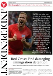 The Independent (UK) Newspaper Front Page for 11 July 2018