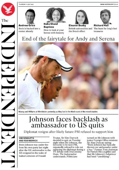The Independent Newspaper Front Page (UK) for 11 July 2019