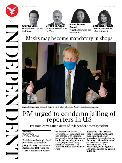 The Independent Newspaper Front Page (UK) for 11 July 2020