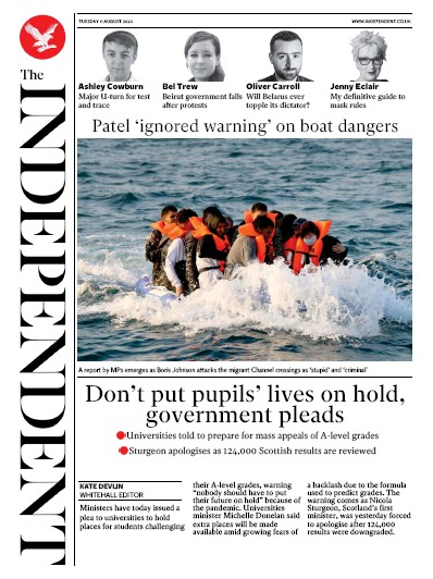 The Independent Newspaper Front Page (UK) for 11 August 2020