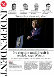 The Independent (UK) Newspaper Front Page for 11 September 2019