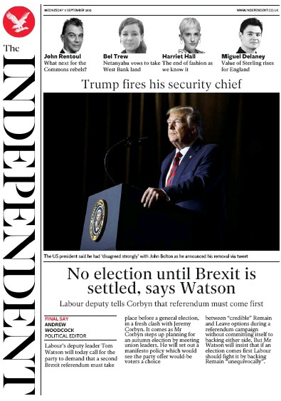 The Independent Newspaper Front Page (UK) for 11 September 2019
