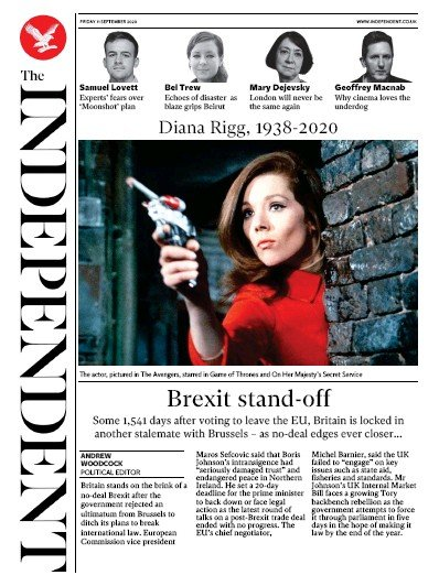 The Independent Newspaper Front Page (UK) for 11 September 2020