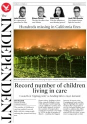 The Independent (UK) Newspaper Front Page for 12 October 2017