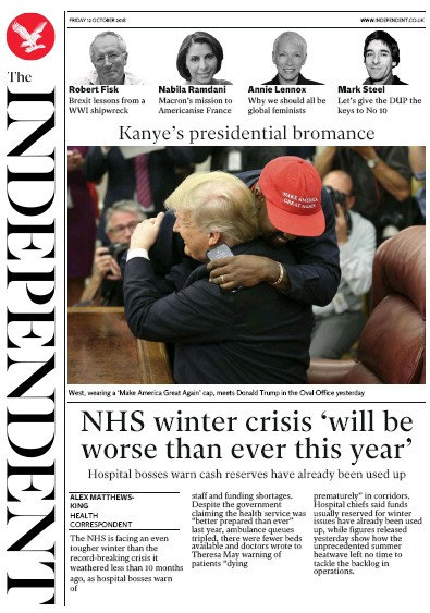 The Independent Newspaper Front Page (UK) for 12 October 2018