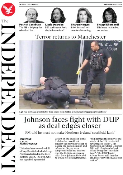 The Independent Newspaper Front Page (UK) for 12 October 2019