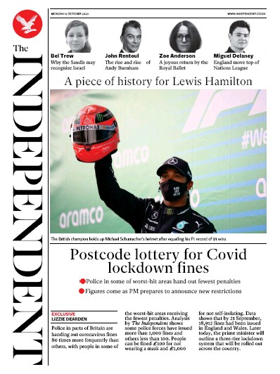 The Independent Newspaper Front Page (UK) for 12 October 2020