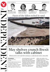 The Independent (UK) Newspaper Front Page for 12 November 2018