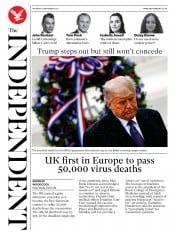 The Independent front page for 12 November 2020
