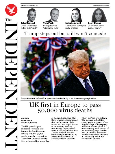 The Independent Newspaper Front Page (UK) for 12 November 2020
