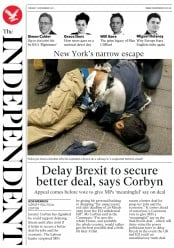 The Independent (UK) Newspaper Front Page for 12 December 2017