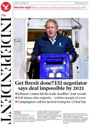 The Independent () Newspaper Front Page for 12 December 2019