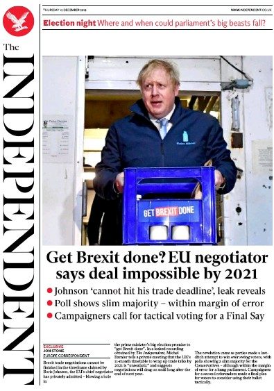 The Independent Newspaper Front Page (UK) for 12 December 2019