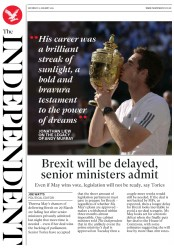 The Independent (UK) Newspaper Front Page for 12 January 2019
