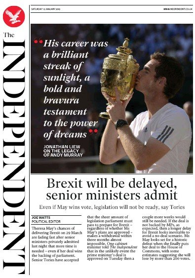 The Independent Newspaper Front Page (UK) for 12 January 2019