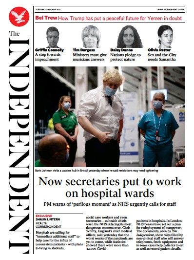 The Independent Newspaper Front Page (UK) for 12 January 2021