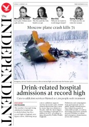 The Independent (UK) Newspaper Front Page for 12 February 2018