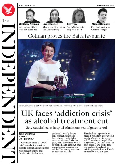 The Independent Newspaper Front Page (UK) for 12 February 2019