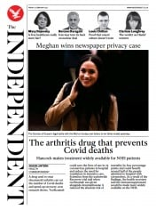 The Independent front page for 12 February 2021