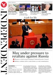 The Independent (UK) Newspaper Front Page for 12 March 2018