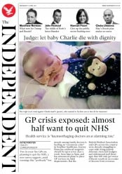 The Independent (UK) Newspaper Front Page for 12 April 2017