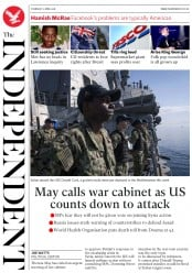 The Independent (UK) Newspaper Front Page for 12 April 2018